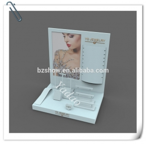 Custom logo and color acrylic jewellery counter displays for shop cabinet and window exhibitor acrylic jewelry showcase set