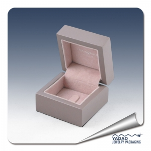 Custom made high end wooden matte ring box for diamond ring.