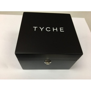 Custom made high end wooden watch box with logo printing on both inside and outside.
