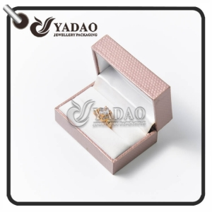 Custom made plastic ring box covered with pu paper with velvet insert  for couple ring and wedding ring.
