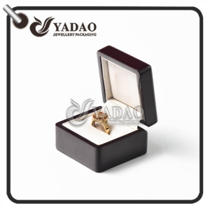 Custom made shiny finish wooden ring box with a slot to put the ring made in Yadao.