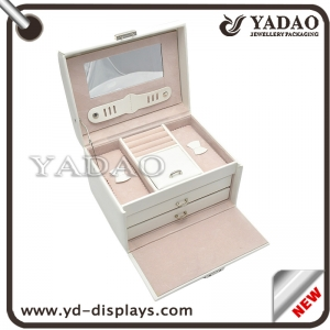 Custom multifunction  jewelry gift boxes with fashion white leather