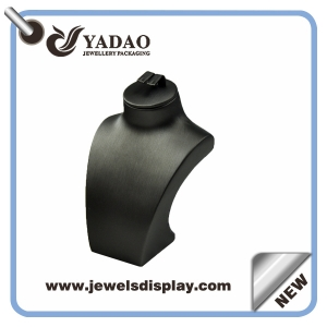 Custom printing logo Luxury metalic black leather necklace busts ,necklace display stand ,necklace display figure ,leather neck form with earring slot on the top