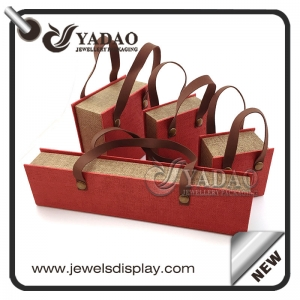 Custom  unique design jewelry gift boxes with linen material  and pu leather string