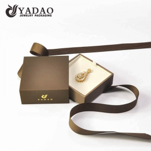 Customize high quality jewelry packaging box paper drawer pendant box gift packing box with ribbon tie