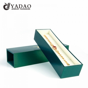 Custom luxury sliding leatherette paper bracelet box with print logo and OEM/ODM service made in Chinese factory.