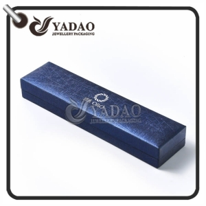Customized plastic bracelet box covered with shiny pu paper with velvet insert and free logo printing service.