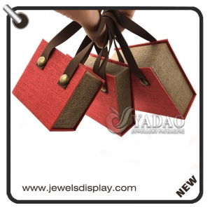 Cute bag shape paper jewelry box for ring/necklace/earring/bangle/chain package with good quality.