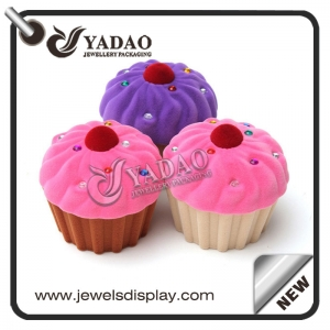 Cute ice cream shape velvet ring box suitable for packing kids' jewelry made in Yadao