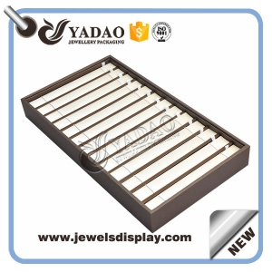 Deisgnable high-end custom handmade free sample free logo pu leather cover stackable jewelry display tray bracelet tray