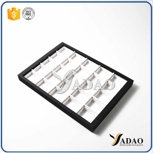 Different optional simple color size customize display tray with square space mdf leather making for jewelery