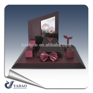 Elegant color luxury leather covered wooden jewelry display window