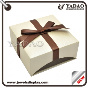 Elegant custom size paper gift jewelry box with bow-knot ribbon