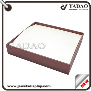 Elegant good look white base leatherette wood bracelet display tray manufacture
