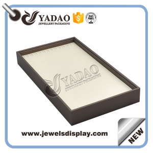 Elegant leather any color wooden display tray for necklace and long chain
