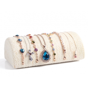 Elegant semi cylinder wood base bracelet necklace display with various material cover for jewelry counter display