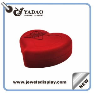 Environment friendly custom elegant Red heart-shaped plastic jewellery case used for jewelry store window flocking jewelry packing boxes and cases