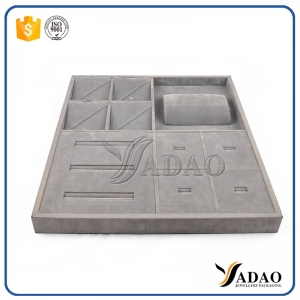 Factory price customize free logo wholesale OEM ODM ring wooden covered with linen/leather jewelry display tray frame material