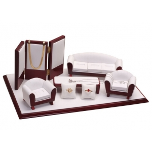 Factory price white and red PU leather sofa jewelry exhibitor,jewelry display holder ,jewelry presentation pedestal wholesale made in China