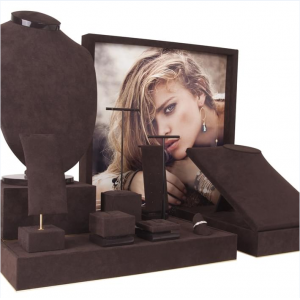 Fashion Women Grey & Black Leatherette Display Set Jewelry Display Stand Showcase