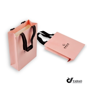 Fashion pink jewelry packaging bag with print logo for shopping China manufacturer