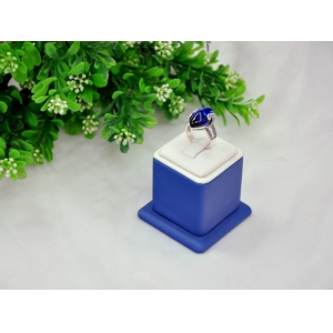 Fashion white & blue leather finger ring display stand key ring display rack inside is wooden made in China
