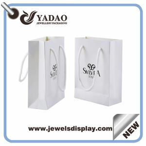 Fashion white paper jewelry shopping bag with your logo