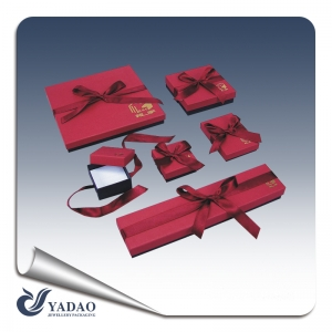 Fine jewelry paper packing box with ribbon for jewelry store and jewelry packaging