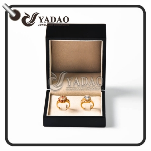 Glossy handmade wooden earring box with free logo printing and soft velvet insert suitable for diamond earring and gem earring.