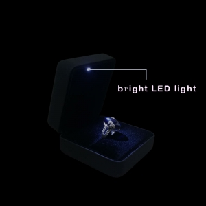 Good quality in stock leather led jewelry display box have red/blue/purple color for you choose made in China