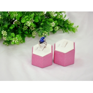 Good quality white & pink leather finger ring display stand key ring display rack inside is wooden made in China