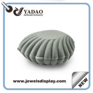 Grey ring package velvet ring box like a shell flocking ring box custom made downy engagement ring box