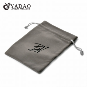 Grey velvet pouch with drawstring and customized size and silk printing neat logo suitable for jewelry and watch package.