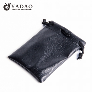 Handmade custom luxury black PU leather jewelry pouch gift bag with logo printing