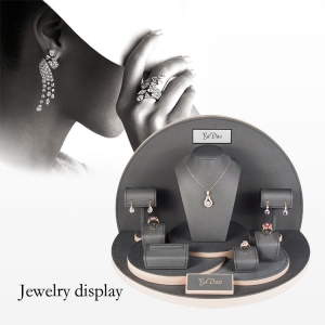 Handmade jewellery display cabinets for shops leatherette jewelry props with customized size and color with logo printed.