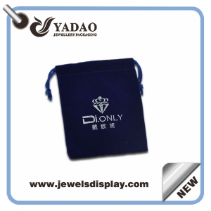 Handmade thick dark blue jewelry gift bags ,jewelry packing bags ,velvet jewelry bags with silver hot stamping with custom logo and samples