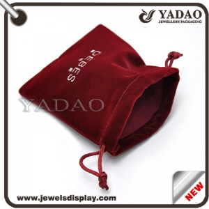 High Quality Stock and Custom Jewelry Velvet Bag/Gift Suede Velvet Pouch/Flocking Bags Supplier