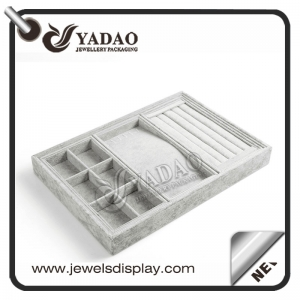 High end custom made multifunctional velvet jewelry collection and display tray for bracelet, necklace and earring display.