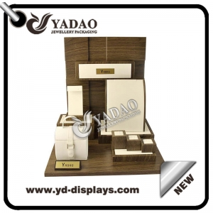 High end custom made solid wood jewelry display set for luxury jewelry with a  leather jewelry collection case