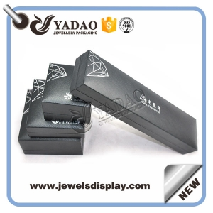 High end plastic jewelry gift box with black leather paper and soft fabric