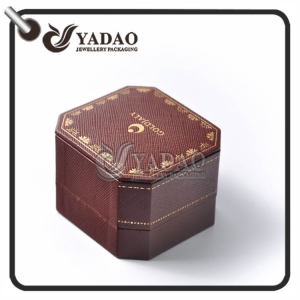 High end pu leather jewelry  box with exquisite stiching and edge---classic design for antique ring or earring.
