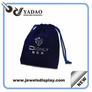 High quality Dark blue Jewelry velvet pouch bags with blue cord for jewelry packing