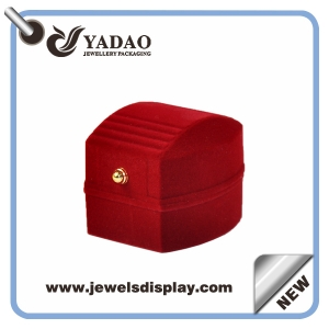 High quality Red jewelry flocking boxes with metal button for ring,ring packaging box for jewelry