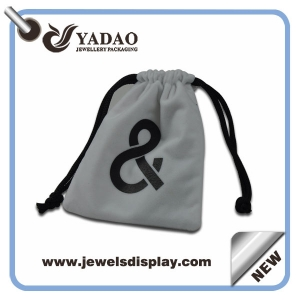 High quality Thick velvet jewelry pouches bags ,white jewelry pouches ,velvet jewelry gift pouches for jewelry packing with custom logo