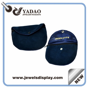 High quality blue velvet pouch jewelry pouch with zipper and your logo made in China