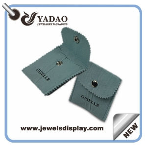 High quality gray velvet pouches jewelry bag with bottom and your logo made in China