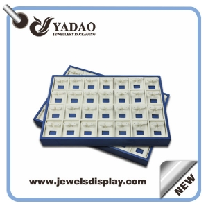 High quality inside velvet earring display trays and outside is wooden material for jewelry trays from China