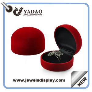 High quality luxury multiple jewelry wedding velvet engagement custom ring box heart shape style ring box with color velvet made in china