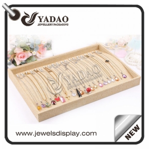 High quality pendant display tray necklace collection pad covered with great linen customized color and material