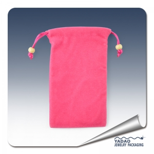 High quality soft and Pink fine jewelry suede pouch bag with drawstring for jewelry store